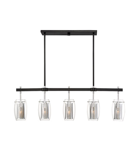 Savoy House 1-9061-5-67 Dunbar 5 Light 40 inch Matte Black with Polished Chrome Accents Trestle Ceiling Light photo