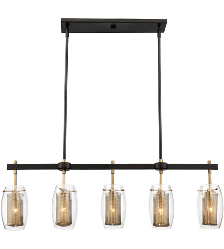 Savoy House 1-9061-5-95 Dunbar 5 Light 40 inch Warm Brass with Bronze accents Trestle Ceiling Light photo