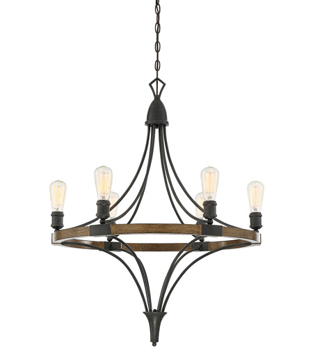 Savoy House 1-9111-6-68 Turing 6 Light 28 inch Whiskey Wood Chandelier Ceiling Light photo