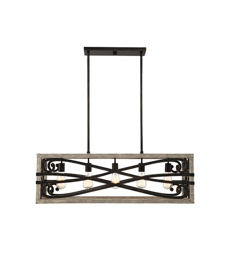 Savoy House 1-9183-5-101 Amador 5 Light 38 inch Noblewood with Iron Trestle Ceiling Light photo