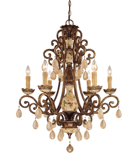 Savoy House Tracy Porter Persimmon 6 Light Chandelier In Vintage Gold W Hand Painted Accents 1 9920 300