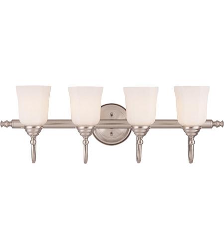 Savoy House Brunswick Bath 4 Light Vanity Light in Satin Nickel (Glass Sold Separately) 1062-4-SN