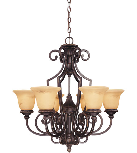 Savoy House 1P-50201-6-16 Knight 6 Light 29 inch Antique Copper Chandelier Ceiling Light photo