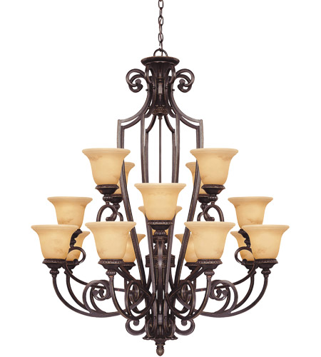Savoy House 1P-50205-16-16 Knight 16 Light 40 inch Antique Copper Chandelier Ceiling Light photo