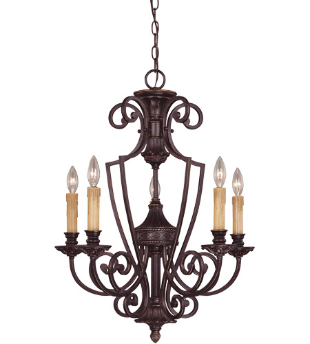 Savoy House 1P-50218-5-16 Knight 5 Light 23 inch Antique Copper Chandelier Ceiling Light photo