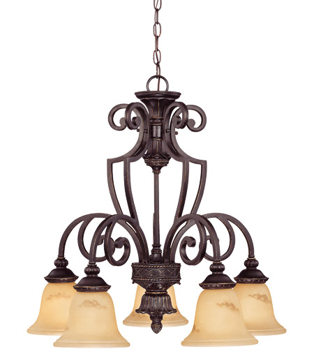 Savoy House 1P-50219-5-16 Knight 5 Light 27 inch Antique Copper Chandelier Ceiling Light photo