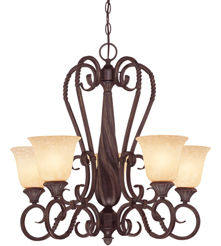 Savoy House Bellingham 5 Light Chandelier in Bark and Gold 1P-8286-5-52