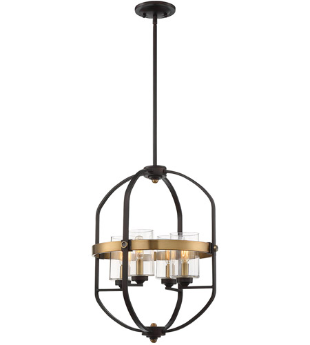 Savoy House 3-8040-4-79 Kirkland 4 Light 17 inch English Bronze and Warm Brass Foyer Pendant Ceiling Light photo