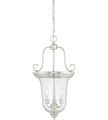 Savoy House 3-8521-3-109 Foyer 3 Light 13 inch Polished Nickel Bell Lantern Ceiling Light in Clear photo