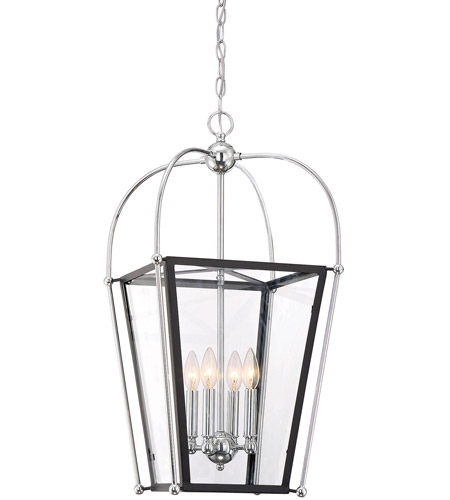 Savoy House 3-9074-4-67 Dunbar 4 Light 14 inch Matte Black with Polished Chrome Accents Foyer Pendant Ceiling Light photo