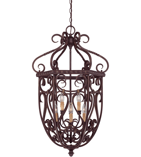 Savoy House 3P-8295-6-52 Bellingham 6 Light 22 inch Bark and Gold Foyer Cage Ceiling Light, Cage photo