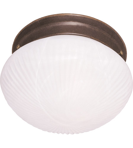 Savoy House 403-BN Signature 2 Light 9 inch Brownstone Flush Mount Ceiling Light in White Ribbed Marble photo