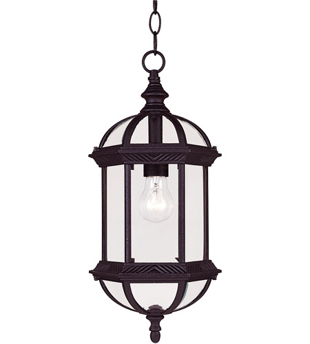 Savoy House Kensington 1 Light Outdoor Hanging Lantern in Textured Black 5-0631-BK