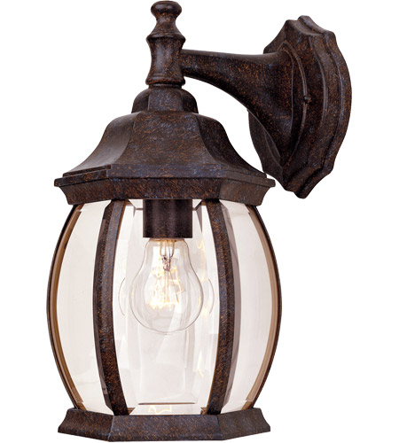 Savoy House 5-1090-72 Exterior 1 Light 13 inch Rustic Bronze Outdoor Wall Lantern in Clear Beveled photo