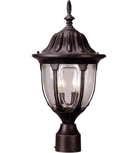 Savoy House Tudor 2 Light Outdoor Post Lantern in Bark and Gold 5-1504-52 photo