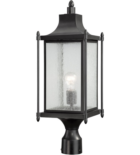 Savoy House 5-3454-BK Dunnmore 1 Light 24 inch Black Post Mount Lantern in Clear Seeded photo
