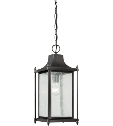 Savoy House 5-3455-BK Dunnmore 1 Light 8 inch Black Hanging Lantern Ceiling Light in Clear  photo
