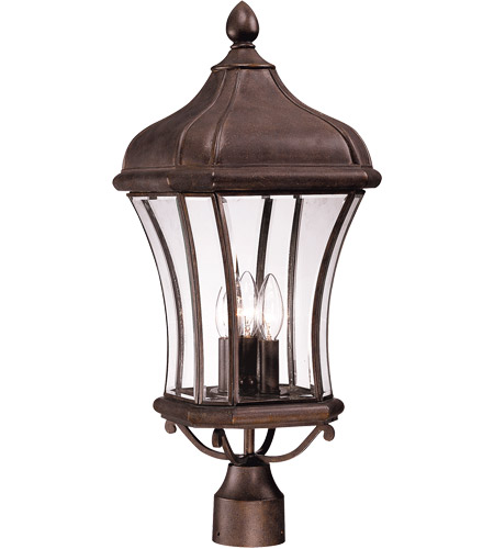 Savoy House Realto 3 Light Outdoor Post Lantern in Walnut Patina 5-3805-40