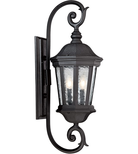 Hampden 2 Light 29 Inch Black Outdoor Wall Lantern