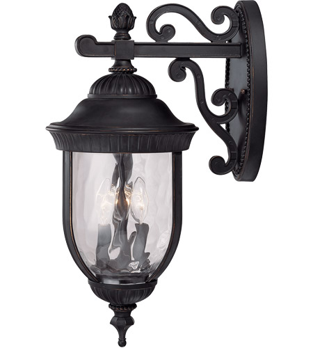 Savoy House Castlemain 3 Light Outdoor Wall Lantern in Black w/ Gold 5-60323-186