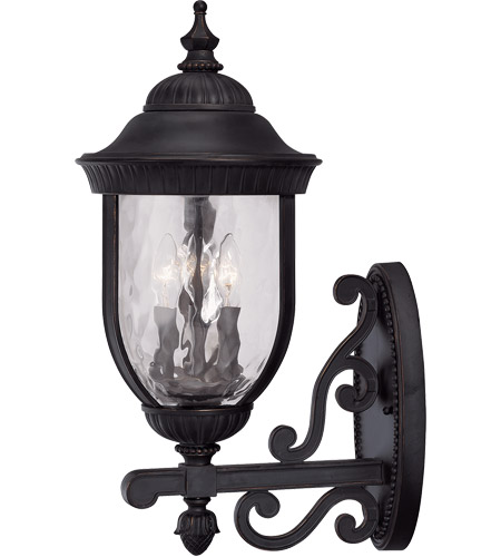 Savoy House Castlemain 3 Light Outdoor Wall Lantern in Black w/ Gold 5-60324-186 photo