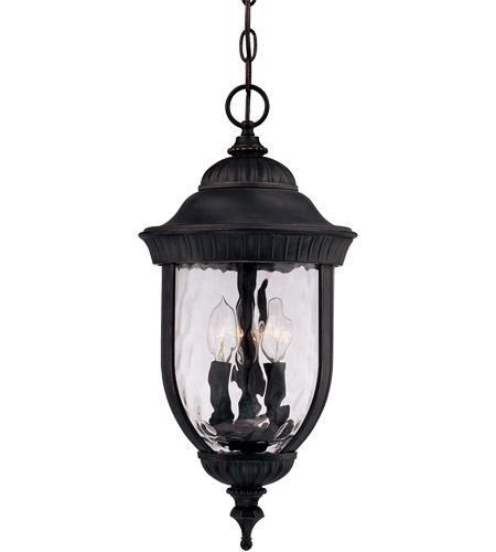Savoy House Castlemain 3 Light Outdoor Hanging Lantern in Black w/ Gold 5-60328-186