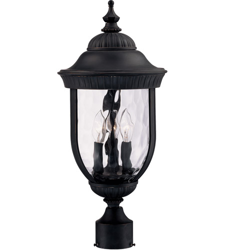 Savoy House Castlemain 3 Light Outdoor Post Lantern in Black w/ Gold 5-60329-186