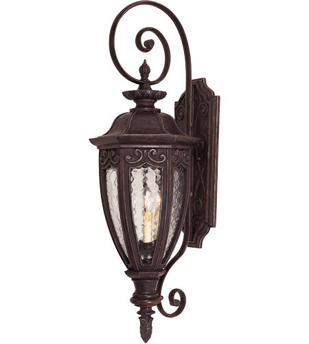 Savoy House Dehart 3 Light Outdoor Wall Lantern in Bark and Gold 5-6523-52 photo