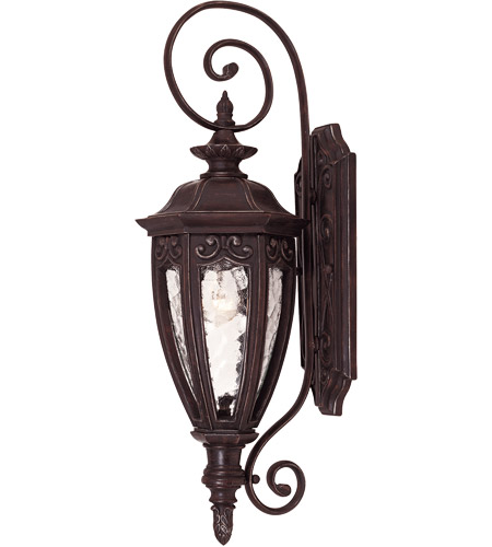 Savoy House Dehart 1 Light Outdoor Wall Lantern in Bark and Gold 5-6528-52 photo
