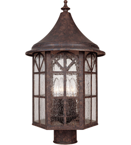 Savoy House Manchester 4 Light Outdoor Post Lantern in New Tortoise Shell 5-8255-56 photo