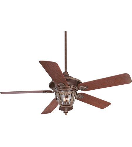 Savoy House Acropolis 3 Light Ceiling Fan In Bark And Gold