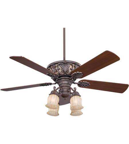 Savoy House 52-810-5WA-40 Monarch 52 inch Walnut Patina Walnut Ceiling Fan in Cream Carved Marble photo