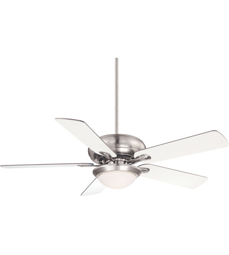 Savoy House 52-CDC-5RV-SN Sierra Madres 52 inch Satin Nickel with White/Chestnut Blades Ceiling Fan in White Frosted photo