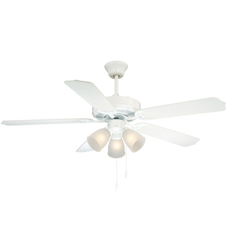 Savoy House First Value 3 Light Ceiling Fan in White 52-EUP-5RV-WH