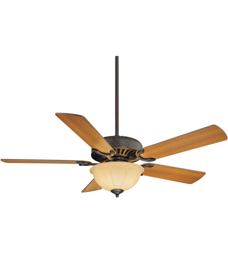 Savoy House 52-SGB-5RV-13 Barbour Island 52 inch English Bronze with Walnut/Teak Blades Ceiling Fan in Cream Frosted photo