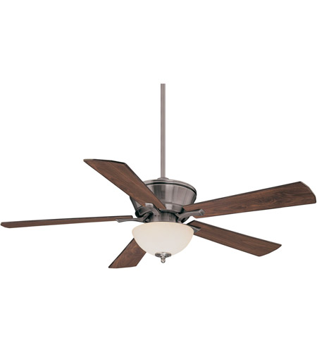 Savoy House 52P-646-5RV-187 St. Simons 52 inch Brushed Pewter with Walnut/Teak Blades Ceiling Fan in White Scavo photo