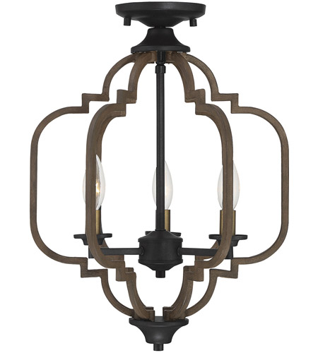 Westwood 3 Light 14 Inch Barrelwood With Br Accents Semi Flush Ceiling