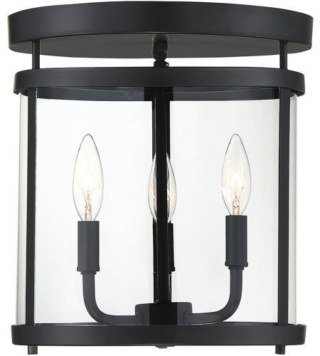 Savoy House 6 1043 3 Bk Penrose 3 Light 13 Inch Black Semi Flush Ceiling Light