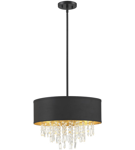Savoy House 6-2292-4-126 Sparkler 4 Light 18 inch Black with Gold Leaf Semi-Flush Ceiling Light, Convertible photo