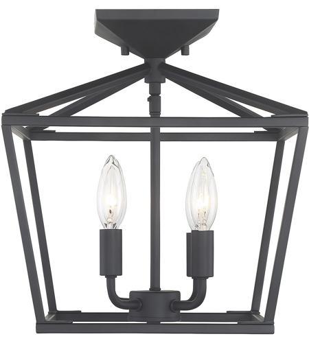 Townsend 4 Light 13 Inch Matte Black Semi Flush Ceiling Light