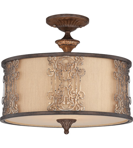 Savoy House 6-3952-3-124 Windsor 3 Light 18 inch Fiesta Bronze with Gold Highlights Semi Flush Mount Ceiling Light photo