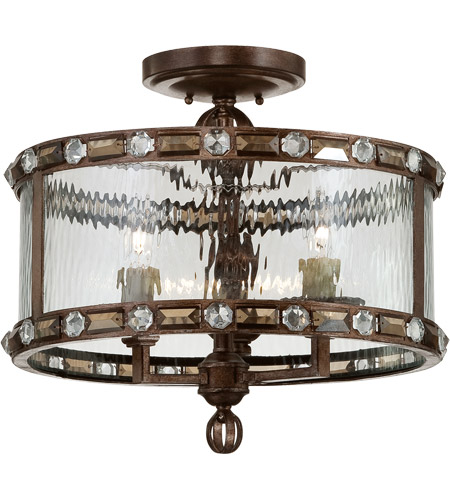 Savoy House 6-6032-3-131 Paragon 3 Light 17 inch Gilded Bronze Semi-Flush Ceiling Light in Clear Water  photo
