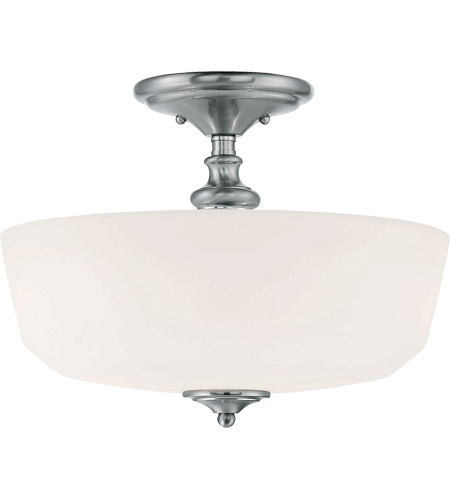 Savoy House 6-6835-2-11 Melrose 2 Light 14 inch Polished Chrome Semi-Flush Ceiling Light in White Opal Etched photo