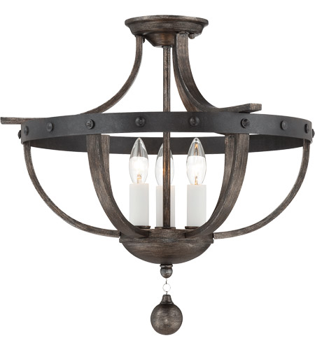 Savoy House 6-9540-3-196 Alsace 3 Light 20 inch Reclaimed Wood Semi-Flush Mount Ceiling Light photo