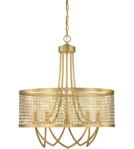 Savoy House Fairview 5 Light Pendant in Rubbed Brass 7-1281-5-325 photo
