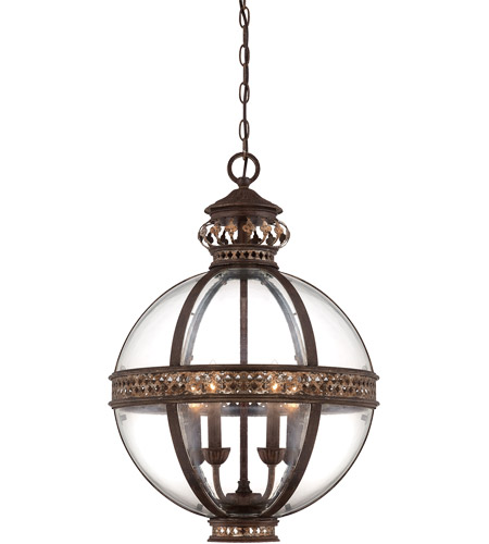 Savoy House 7-1481-4-124 Strasbourg 4 Light 18 inch Fiesta Bronze Pendant Ceiling Light, French Globe photo