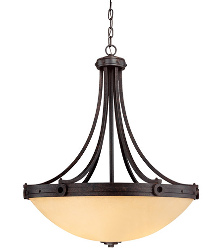 Savoy House 7-2016-4-05 Elba 4 Light 30 inch Oiled Copper Pendant Ceiling Light in Cream Textured photo