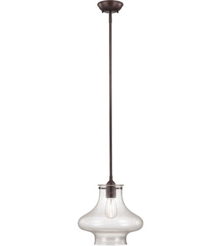 Savoy House 7-5380-1-13 Vintage 1 Light 12 inch English Bronze Pendant Ceiling Light in Clear Seeded photo