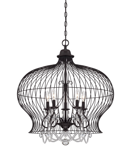Savoy House 7-6100-6-17 Birdcage 6 Light 30 inch Forged Black Pendant Ceiling Light photo