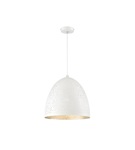 Savoy House 7 800 1 123 Graham Light 16 Inch White With Silver Leaf Pendant Ceiling